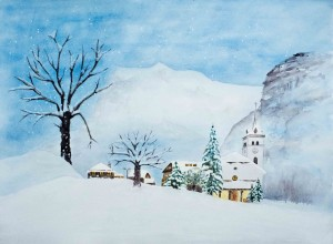 Kirche im Winter (gerahmt; 65x50 cm, Fr. 350.-)