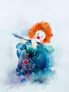 Clown mit Querflöte