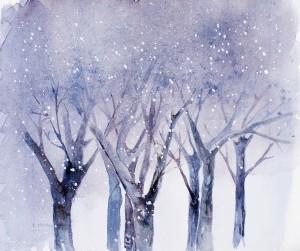 Schneefall im Wald