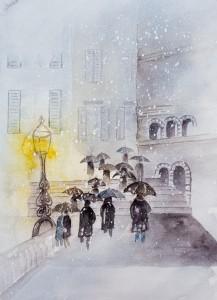 Leute im Schneegestöber