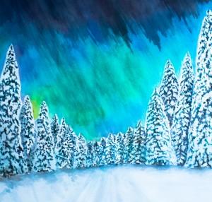 Aurora Borealis (Nordlicht) (gerahmt, 70x70 cm, Fr. 600.-)