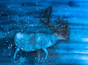 Rentier im Winter (gerahmt; 60x48 cm, Fr. 350.-)